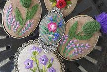 quadros com flores de fita