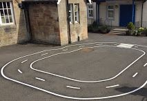 cycle tracks for the playground / children can practice their cycling skills and road safety with playground markings cycle tracks from first4playgrounds