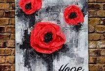 rooi geverfde poppies