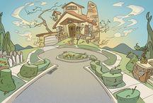 Landscapes illustration and comics