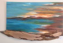 Abstract Land and Sea Scapes / original acrylic on canvas representations of the beautiful Australian land and sea scapes
