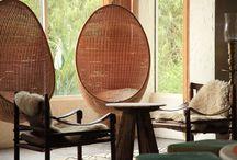 Rotan hanging chairs