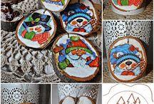 Plastry drewna / Dekoracje wykonane na plastrach drewna.