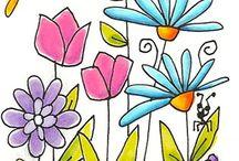 Watercolor doodle flowers