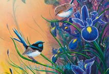 Blue Wren Paintings by Susan Farrell Art / I absolutely love Blue Wrens. We are lucky enough to have them nesting close by :)