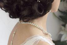 Свадебные / Веточка в свадебную причёску из белого жемчуга 25 см
