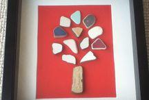 """Ceramic Tales"" Pebble art / Pebble art Sea pottery"