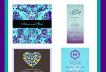 Turquoise en paars bruiloft thema
