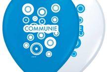 Communie Vieren / Doe hier ideeën op ter versiering van een communie feest. Van ballonnen tot slingers en nog veel meer.