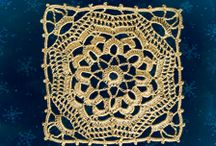 thread crochet square and triangle / square and triangle shape smaller motif patterns to crochet