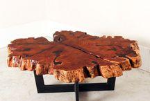 Coffee Tables / Coffee Tables made from live edge, quartz, phenolic resin, walnut, pecan, oak, steel