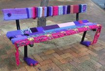 Yarn bombing, Wellington, New Sealand / Yarn bombed bench, by Stitch and Butch group