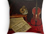 My throw-pillows / Throw pillows with my digital art on sell at RedBubble: flowers, kitchen, Mediterranean and Italian Food, vintage, retro, Venice, Venetian masks and adventures an the sea
