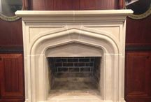 Client Project - Before & After / Our client wanted to change the look of his fireplace mantel from brick to cast stone.  Here are photos of the transformation.