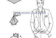 Nouer foulard en pochette de costume homme