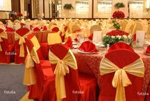 Red gold weddings chairs decorations