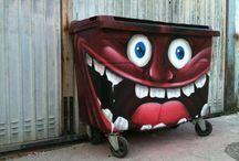 Troll trash can art