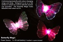 Butterfly Magic / SGBU Single Glow Butterfly Colour changing LED light inside of a 10mm thick acrylic butterfly shape, suspended from a battery pod by micro wire. CE and Australian standards tested for absolute safety. Hang securely out of reach of children under 5 to avoid over stretching the micro wire.