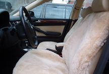 Sheepskin car seat covers / Custom made sheepskin car seat covers. Visit us at Sheepskin of Oregon in Portland's Pearl District. #SheepskinOfOregon