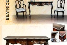 Beatrice Series of Decorus Furniture / Beatrice Series. Console Table, Host Chair, Side Chair, Sideboard, Side Table, Coffee Table and Dining Table.