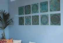 Wall art sets / Our wall art sets are ready to buy collections of 2 and more tiles. Each of our tiles have a recess in the back so that they can be easily hung in an interior or exterior setting.  All of our ceramic tiles are handmade and hand painted, making each one truly unique.