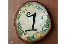 Wedding Table Numbers / Wooden painted table numbers
