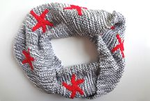 Moby Infinity Scarf: Grey/White with Red Starfish / Moby is the amazing scarf from Scarffish: a double-strand Mobius infinity scarf (whale-grey and white) with eye-popping red starfish.  Super soft and completely washable.  $79.00 at www.scarffish.com, US S/H free!
