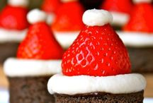 Little brownie bite Santa hats