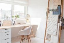 Dream house : office / Office decoration minimalist light and clean, lots of white and plants