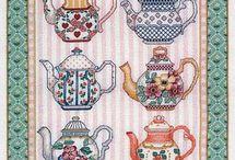 Cross stitch patterns - tea time: tea cups & tea pots