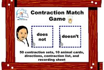 Contractions Game: Contraction Match Game for Literacy Centers / Contractions Game: Contraction Match Game for Literacy Centers. Are your students or child having trouble with contractions? This is an educational game to help teach contractions in a FUN way without worksheets.  This resource includes: game directions for students, 50 sets of contractions, 10 cartoon animal cards, contraction list, and recording sheet.