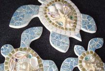 mosaic sea shell mosaic sea turtle