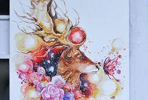 dessins d'animaux et cartes aquarelle