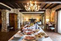 The Long Room / The Long Room is the hub of Casale San Pietro.  It has five sitting areas and has a mix of modern and antique furniture.  it has lovingly been designed by Alana and Joe Mazz