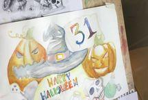 Halloween / Disegni e dipinti degli alunni delle classi 1AL,1BL,1CL,1DL,2CL Materia: Discipline grafiche e pittoriche  Docente: Valeria Pappalardo