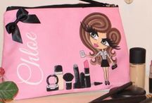 ♡ Personalised Make Up Bags / Gorgeous luxury HunniBunni Make Up Bags which can be personalised using the HunniBunni Builder where you can choose between the outfits, hair styles, hair colours, eye colours, skin tones and can add your name or personal text so that your make up bag will be customised and unique to you!  Visit our website: www.hunnibunniboutique.co.uk