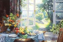 Вид из окна, сад, пейзаж