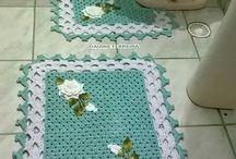 jogos de banheiro e tapetes crochê p/ fazer