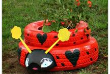 Coccinelles en pneu..jardin