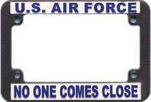 Motorcycle License Plate Frames / Military Motorcycle License Plate Frames.  Army, Air Force, Marines, Vietnam Veteran Motorcycle plate frames for your Bike!  See them all at http://www.priorservice.com/moliplfr.html