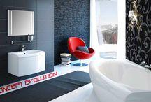 Concept Evolution / Le concept Evolution regroupe tous les éléments d'une salle-de-bains : baignoire, lavabo et meubles Un design courbé pour plus de confort et de bien-être