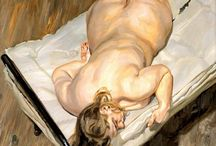 Lucian Freud / Was a British painter and draftsman, specializing in figurative art, and is known as one of the foremost 20th-century portraitists.  He was born in Berlin, the son of Jewish architect Ernst L. Freud and the grandson of Sigmund Freud.  (Wekipedia)