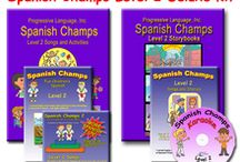 Spanish Champs Products / Spanish Champs offers song CDs, video DVDs, song lyric and activity books, teaching resources, and more. Available in Level 1 or Level 2. Check us out for your preschool academies or homeschooling groups!
