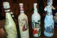 Üvegek, dísztárgyak, decorative bottles, decoupage / Saját készítésű dísztárgyak, ajándékok