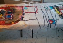 """The creating of """"the day everything changed""""art work informed by the book, I am Malala / 12'x8'mixed media painting"""