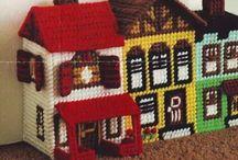 Villages in plastic canvas