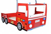 Children's Fire Truck Bed Boys Single Bedroom Furniture Red Truck Car Rails New