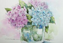 bloemen in vaas schilderen