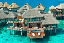 Tropical Resorts / Gorgeous hotels and resorts in tropical locales - palm trees, clear ocean, sunshine, fruity drinks and relaxation