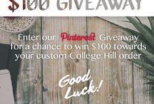 College Hill Pinterest Giveaway / College Hill Pinterest giveaway details on our blog www.collegehillcustomthreads.com/blogs/news   All entries must be received by Friday, 8/18/2017  The winner will be announced Monday, 8/21/2017